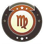 Virgo zodiac astrology icon on round red and brown imperial vector button with star accents suitable for use on website, in print and promotional materials, and for advertising. Stock Photo - Royalty-Free, Artist: lhfgraphics                   , Code: 400-05742315