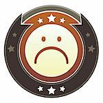 Sad face or frown icon on round red and brown imperial vector button with star accents suitable for use on website, in print and promotional materials, and for advertising. Stock Photo - Royalty-Free, Artist: lhfgraphics                   , Code: 400-05742325