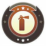 Fire extinguisher or emergency icon on round red and brown imperial vector button with star accents suitable for use on website, in print and promotional materials, and for advertising. Stock Photo - Royalty-Free, Artist: lhfgraphics                   , Code: 400-05742326