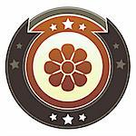 Flower, nature or beauty icon on round red and brown imperial vector button with star accents Stock Photo - Royalty-Free, Artist: lhfgraphics                   , Code: 400-05742327