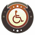 Wheelchair, handicapped, or accessibility icon on round red and brown imperial vector button with star accents Stock Photo - Royalty-Free, Artist: lhfgraphics                   , Code: 400-05742334