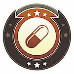 Pill, pharmaceutical, or healthcare icon on round red and brown imperial vector button with star accents Stock Photo - Royalty-Free, Artist: lhfgraphics                   , Code: 400-05742345
