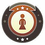 Female icon on round red and brown imperial vector button with star accents Stock Photo - Royalty-Free, Artist: lhfgraphics                   , Code: 400-05742351