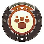 Group, social, or community icon on round red and brown imperial vector button with star accents Stock Photo - Royalty-Free, Artist: lhfgraphics                   , Code: 400-05742356