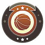 Basketball icon on round red and brown imperial vector button with star accents Stock Photo - Royalty-Free, Artist: lhfgraphics                   , Code: 400-05742358