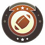 Football icon on round red and brown imperial vector button with star accents Stock Photo - Royalty-Free, Artist: lhfgraphics                   , Code: 400-05742359