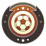 Soccer or football icon on round red and brown imperial vector button with star accents Stock Photo - Royalty-Free, Artist: lhfgraphics                   , Code: 400-05742360