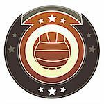Volleyball icon on round red and brown imperial vector button with star accents Stock Photo - Royalty-Free, Artist: lhfgraphics                   , Code: 400-05742362