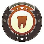 Tooth, dentist, or checkup icon on round red and brown imperial vector button with star accents Stock Photo - Royalty-Free, Artist: lhfgraphics                   , Code: 400-05742368