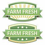 Farm fresh food label, badge or seal with green and yellow color in vector Stock Photo - Royalty-Free, Artist: lhfgraphics                   , Code: 400-05742376