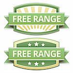 Free range food label, badge or seal with green and yellow color in vector Stock Photo - Royalty-Free, Artist: lhfgraphics                   , Code: 400-05742377