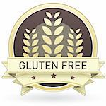 Gluten free food label, badge or seal with brown and tan color and wheat or grain emblem in vector style Stock Photo - Royalty-Free, Artist: lhfgraphics                   , Code: 400-05742378