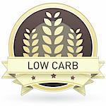 Low carb food label, badge or seal with brown and tan color and wheat or grain emblem in vector style Stock Photo - Royalty-Free, Artist: lhfgraphics                   , Code: 400-05742380