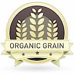 Organic grain food label, badge or seal with brown and tan color and wheat or grain emblem in vector style Stock Photo - Royalty-Free, Artist: lhfgraphics                   , Code: 400-05742381