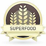 Superfood food label, badge or seal with brown and tan color and wheat or grain emblem in vector style Stock Photo - Royalty-Free, Artist: lhfgraphics                   , Code: 400-05742382