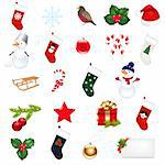Big Christmas Icons Set, Isolated On White Background, Vector Illustration   Stock Photo - Royalty-Free, Artist: adamson                       , Code: 400-05742430