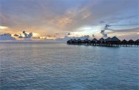 Beautiful vivid sunset over water villas in the Indian ocean, Maldives Stock Photo - Royalty-Freenull, Code: 400-05742451