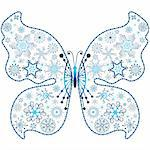 Christmas snowflake-butterfly isolated on white background  (vector) Stock Photo - Royalty-Free, Artist: OlgaDrozd                     , Code: 400-05742567