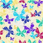 Seamless transparent vintage pattern with silhouettes colorful butterflies (vector EPS 10)