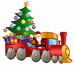 Santa Claus and Reindeer Delivering Gifts in Red Train with Christmas Tree Illustration Stock Photo - Royalty-Free, Artist: jpldesigns                    , Code: 400-05743059