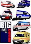 Big set of Modern ambulance va. Colored vector illustration Stock Photo - Royalty-Free, Artist: leonido                       , Code: 400-05743091