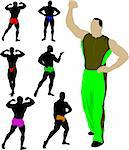 Bodybuilders collection vector Stock Photo - Royalty-Free, Artist: leonido                       , Code: 400-05743094
