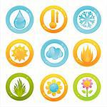 set of 9 colorful nature buttons