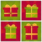 set of 4 christmas presents backgrounds Stock Photo - Royalty-Free, Artist: LxIsabelle                    , Code: 400-05743712