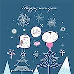 funny new year card with birds on a dark blue background with snowflakes