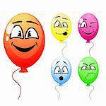 Vector of balloons with funny faces Stock Photo - Royalty-Free, Artist: sateda                        , Code: 400-05743777