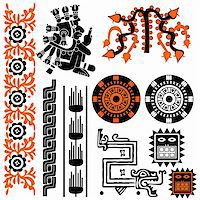 Vector image of ancient american patterns on white Stock Photo - Royalty-Freenull, Code: 400-05743791
