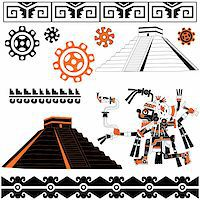 Image of ancient american patterns with ornaments and pyramids Stock Photo - Royalty-Freenull, Code: 400-05743792