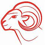 Zodiac sign Aries logo, icon sketch style tattoo sheep isolated on white background. Stock Photo - Royalty-Free, Artist: svetap                        , Code: 400-05743894