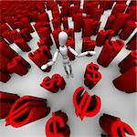 3D render of confused mannequin standing in a sea of red $ dollar and â?¬ euro symbols.   Stock Photo - Royalty-Free, Artist: eyeidea                       , Code: 400-05744161