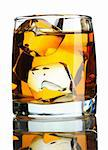 Scotch on the rocks isolated on white Stock Photo - Royalty-Free, Artist: haveseen                      , Code: 400-05744746