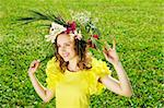 Girl with a wreath made from flowers Stock Photo - Royalty-Free, Artist: haveseen                      , Code: 400-05744764