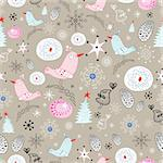 New seamless design with birds and Christmas trees on a brown background with snowflakes Stock Photo - Royalty-Free, Artist: tanor                         , Code: 400-05745243