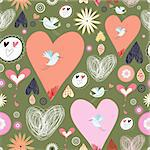seamless pattern of hearts and birds on a dark green background Stock Photo - Royalty-Free, Artist: tanor                         , Code: 400-05745245