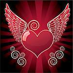 glossy heart with wings and swirl, vector illustration Stock Photo - Royalty-Free, Artist: BooblGum                      , Code: 400-05745271