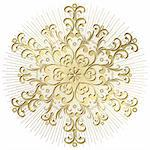 Gold vintage snowflake with rays on white background (vector) Stock Photo - Royalty-Free, Artist: OlgaDrozd                     , Code: 400-05745503