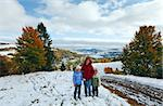 October Carpathian mountain plateau with first winter snow and autumn colorful foliage (and mother with children) Stock Photo - Royalty-Free, Artist: Yuriy                         , Code: 400-05745583