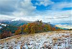 October Carpathian mountain plateau with first winter snow and autumn colourful foliage Stock Photo - Royalty-Free, Artist: Yuriy                         , Code: 400-05745586