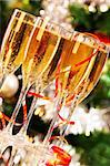 Several champagne flutes on Christmas background Stock Photo - Royalty-Free, Artist: pressmaster                   , Code: 400-05745752