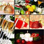 Collage of holiday objects on Christmas table