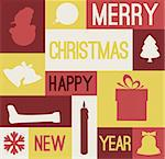 Vector Retro christmas card with various seasonal shapes - yellow and red Stock Photo - Royalty-Free, Artist: orsonsurf                     , Code: 400-05746010