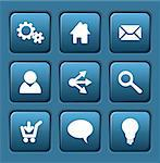 Set of blue vector web square buttons (home, share, users, email, ...) Stock Photo - Royalty-Free, Artist: orsonsurf                     , Code: 400-05746014