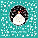 greeting card with a cheerful snowman on a blue background with snow Stock Photo - Royalty-Free, Artist: tanor                         , Code: 400-05746051