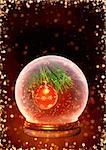 Vertical background with magic ball and christmas ornament