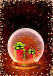 Vertical background with magic ball and gifts
