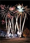 Big fireworks display against park trees silhouette Stock Photo - Royalty-Free, Artist: Anterovium                    , Code: 400-05746154